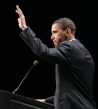 US Senator Barack Obama (D-IL) waves as he closes his address to the members of the Alliance for American Manufacturing on the challenges facing manufacturers in the U.S. in Pittsburgh, Pennsylvania April 14, 2008. REUTERS/Jason Cohn