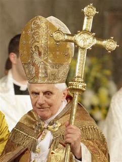 Pope Benedict XVI holds the pastoral staff as he visits the Basilica of the National Shrine of the Immaculate Conception to hold a Vespers prayer service with the Catholic Bishops of the United States in Washington April 16, 2008. REUTERS/Max Rossi