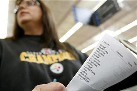Shopper Laura Miller holds her list as she shops at a Wal-Mart store in Santa Clarita, California April 1, 2008. REUTERS/Mario Anzuoni