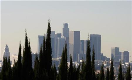 Downtown Los Angeles is seen from behind a row of trees in East Los Angeles January 18, 2008. REUTERS/Lucy Nicholson