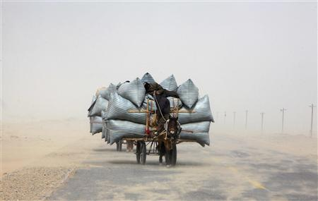 A Uighur man sleeps during a sandstorm as he rides his horse cart delivering hay around the Paklamakan desert, some 100km (63 miles) east to Yecheng, in the region of Xinjiang in this April 5, 2008 file photo. REUTERS/Nir Elias