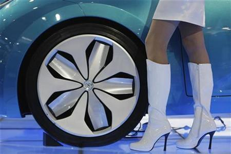 A model stands beside a wheel of Toyota Hybrid Synergy Drive car at the Auto China 2008 auto show in Beijing April 20, 2008. REUTERS/Jason Lee