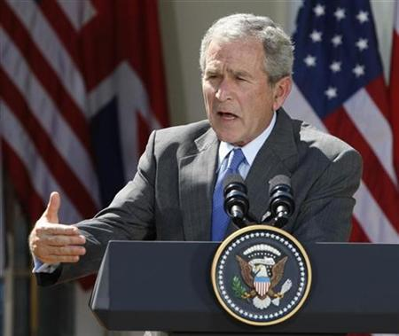 President Bush speaks at a news conference in the Rose Garden of the White House in Washington, April 17, 2008. REUTERS/Jason Reed