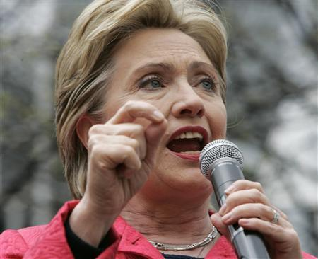 Senator Hillary Clinton (D-NY) speaks to a crowd of supporters in Market Square in downtown Pittsburgh, Pennsylvania April 21, 2008. REUTERS/Jason Cohn