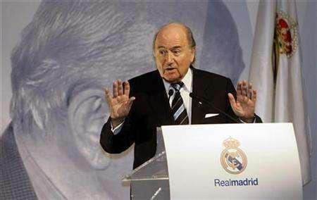 FIFA President Sepp Blatter delivers a speech at Madrid's Alfredo Di Stefano stadium February 17, 2008. REUTERS/Andrea Comas