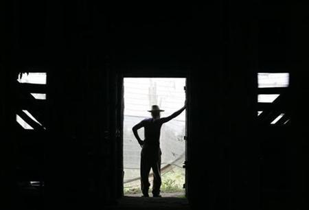 A worker leans against the doorframe of a curing barn at a tobacco farm in Cuba's western province of Pinar del Rio February 26, 2008. REUTERS/Enrique De La Osa