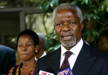 Former U.N. Secretary General Kofi Annan addresses the media as Executive Director of the United Nations Human Settlements Programme Anna Tibaijuka looks on in Nairobi in this March 2, 2008 file photo. REUTERS/Thomas Mukoya