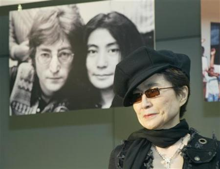 File photo shows Yoko Ono posing for photographers during a news conference at Saitama Super Arena, north of Tokyo October 2, 2003. REUTERS/Yuriko Nakao