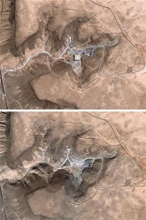 These satellite images, taken August 5, 2007 (Top) and October 24, 2007 (Bottom), show a suspected nuclear facility in Syria. REUTERS/DigitalGlobe/Handout