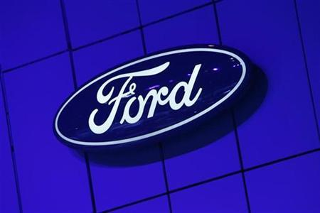 The Ford logo is seen at the Chicago Auto Show February 6, 2008. REUTERS/John Gress