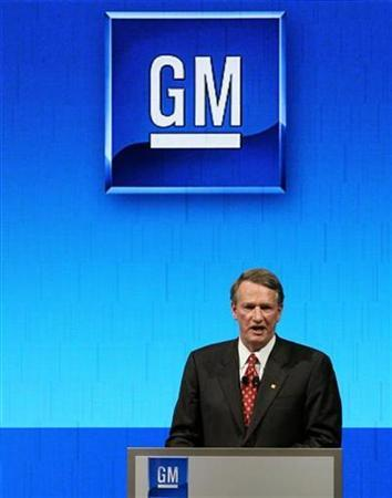 General Motors Chairman and CEO Rick Wagoner addresses a news conference during the first media day of the 78th Geneva Car Show at the Palexpo in Geneva March 4, 2008. REUTERS/Arnd Wiegmann