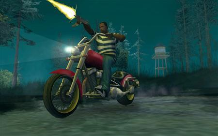 In this screenshot provided by Rockstar Games, a scene from the best-selling video game ''Grand Theft Auto - San Andreas'' is shown. Beatings, carjackings, drive-by shootings, drunk driving and hookers. For video game fans, it can only mean one thing: ''Grand Theft Auto 4'' is here, with all the subtlety of a shotgun blast. The latest chapter in the wildly popular and controversial criminal action franchise from Take-Two Interactive Software Inc is poised to be the biggest entertainment product of the year, with expected first-week sales of up to $400 million. REUTERS/Rockstar Games/Handout/Files