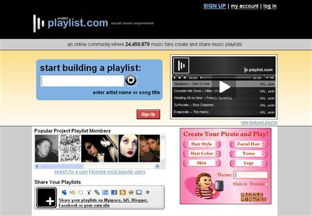 A screenshot of the Project Playlist website, Playlist.com, taken on April 28, 2008. REUTERS/www.playlist.com