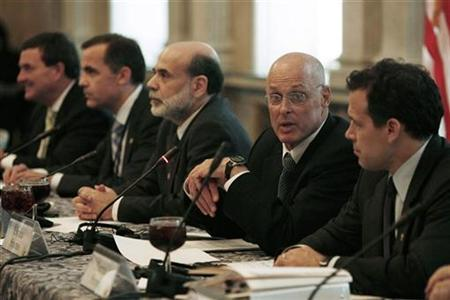 Treasury Secretary Henry Paulson (2nd R) sits alongside Federal Reserve Chairman Ben Bernanke (C) during a meeting of G7 finance ministers and central bank governors at the Treasury Department in Washington October 19, 2007. REUTERS/Jason Reed