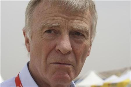International Automobile Federation (FIA) president Max Mosley speaks with journalists on the first day of the Jordan Rally near the Dead Sea April 25, 2008. A French court said on Tuesday it had no power to ban a British newspaper from posting on its Web site a video showing world motorsport chief Max Mosley in what the paper described as a Nazi-style orgy with prostitutes. REUTERS/Ali Jarekji