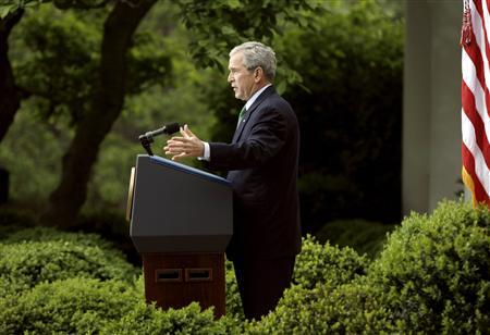 U.S. President Bush responds to a question as he holds a news conference in the Rose Garden of the White House in Washington April 29, 2008. REUTERS/Kevin Lamarque