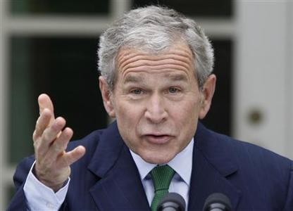 President Bush reacts to a question during a news conference in the Rose Garden of the White House in Washington April 29, 2008. REUTERS/Jason Reed