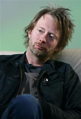 Radiohead's Thom Yorke listens during an interview with Reuters in Maidenhead, central England, April 23, 2008. Pioneering British rock band Radiohead has lent one of its songs to an MTV campaign to raise awareness about sweatshop labour and human trafficking. Photograph taken April 23, 2008. REUTERS/Alessia Pierdomenico