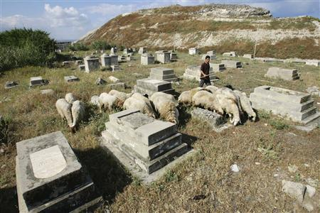 A shepherd tends his sheep at a Jewish cemetery near the port city of Sidon in south Lebanon May 2, 2008. The ruined cemetery lies by the sea in Sidon, the worn Hebrew inscriptions on the headstones a reminder of Lebanon's once-thriving Jewish minority, which has all but vanished since the state of Israel emerged 60 years ago. REUTERS/Ali Hashisho