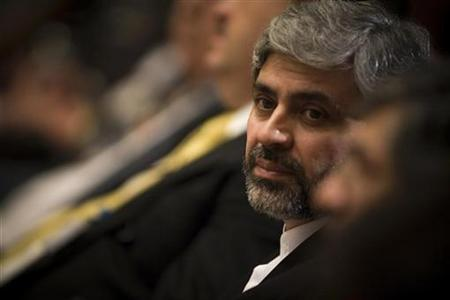 Iran's Foreign Ministry spokesman Mohammad Ali Hosseini looks on during a joint news conference by the Iranian Foreign Minister Manouchehr Mottaki and his Cuban counterpart Felipe Perez Roque in Tehran in this September 4, 2007 file photo. REUTERS/Morteza Nikoubazl