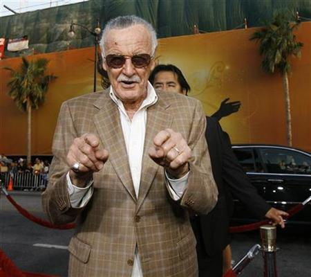 Stan Lee, creator of the fictional comic book super-hero Iron Man, gestures at the premiere of the film ''Iron Man'' at the Grauman Chinese Theatre in Hollywood, California, April 30, 2008. REUTERS/Mario Anzuoni