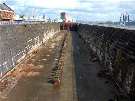 The original dry dock in which the Titanic liner once stood at Queen's Island, Belfast, Northern Ireland, is seen in this April 24, 2008 file photograph . The area is being developed as part of the city's Titanic Quarter, a waterfront regeneration project which will be feature shops, restaurants and offices. REUTERS/Jonathan Saul/Files