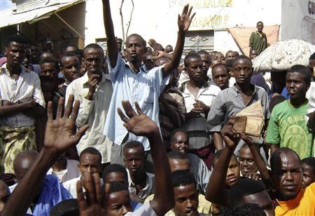 Protestors shout slogans during a demonstration in Mogadishu, May 5, 2008. REUTERS/Feisal Omar