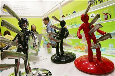 A knife-holder named ''Voodoo'' sits on display in a booth at the opening day of the Hong Kong Gift and Premium Fair in Hong Kong April 28, 2006. . REUTERS/Paul Yeung