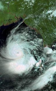 Cyclone Nargis is seen making its way across the Bay of Bengal just south of Myanmar in this image captured on Environmental Satellite (Envisat) May 1, 2008. Envisat is an earth-observing satellite built by the European Space Agency (ESA). REUTERS/ESA/Handout