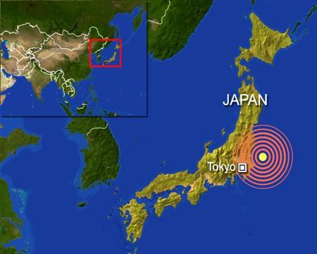 A earthquake with a preliminary magnitude of 6.7 jolted eastern Japan early on Thursday, and was felt over a wide area, including in Tokyo, Japan's meteorological agency said. REUTERS/Graphics