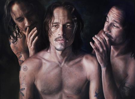 'Heat', an oil on canvas by artist Vincent Fantauzzo, is seen in this image provided by the Art Gallery of New South Wales in Sydney May 8, 2008. The portrait of a brooding Heath Ledger, painted shortly before the Hollywood actor died in January, was voted the most popular painting in Australia's top art prize for portraiture on Thursday. REUTERS/Art Gallery New South Wales/Handout