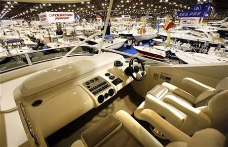A view from the bridge of a $1.6million Marquis 55 yacht of boats on display at the 2007 New York National Boat Show in New York City January 4, 2007. REUTERS/Mike Segar