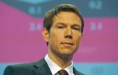 <p>Rene Obermann, patron de Deutsche Telekom, confirme que son groupe a l'intention de se développer à l'étranger sur les marchés où il est déjà présent et sur de nouveaux marchés en rachetant des concurrents. /Photo prise le 28 février 2008/REUTERS/Ina Fassbender</p>
