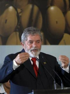 Brazilian President Luiz Inacio Lula da Silva speaks during a ceremony at Planalto Palace in Brasilia May 8, 2008. The ceremony was to launch the PAS, or Sustainable Amazon Plan. REUTERS/Roberto Jayme (BRAZIL)