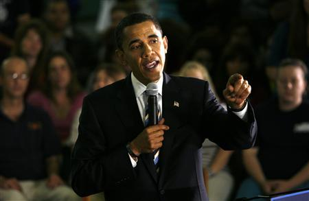 US Democratic presidential candidate Senator Barack Obama (D-IL) speaks at the Thorngate Limited garment factory in Cape Girardeau, Missouri, on the night of the West Virginia presidential primary, May 13, 2008. REUTERS/John Gress