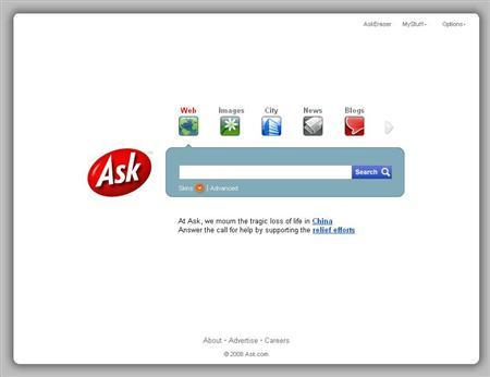 A Screen grab of Ask.com. REUTERS/www.ask.com
