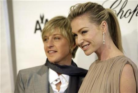 Ellen DeGeneres (L) and Portia de Rossi arrive at the 16th Annual Elton John AIDS Foundation Party to celebrate the Academy Awards, the Oscars, at the Pacific Design Center in West Hollywood, California, February 24, 2008. DeGeneres plans to marry her long-time partner, actress Portia de Rossi, after a California court ruling allowing gay marriage. REUTERS/Danny Moloshok