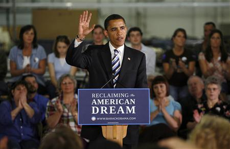 US Democratic presidential candidate Senator Barack Obama (D-IL) speaks at a campaign stop at the Thorngate Limited garment factory in Cape Girardeau, Missouri May 13, 2008, the night of the West Virginia presidential primary. REUTERS/John Gress