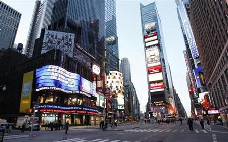 File photo shows a view of Times Square, in New York. New York City, long a place where counterfeit watches and fake designer handbags are sold on street corners, is unveiling an ad campaign warning consumers of the human cost of indulging in knockoffs. REUTERS/Chip East