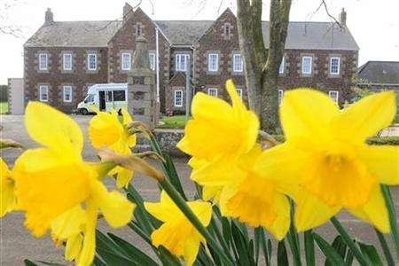 The Haut de la Garenne Youth Hostel is seen behind daffodils near St. Martin in Jersey March 1, 2008. REUTERS/Toby Melville