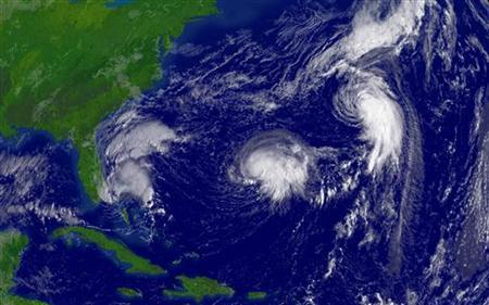 Tropical Storm Ophelia, Hurricane Nate and Hurricane Maria are seen churning over the Atlantic Ocean during the 2005 hurricane season. Fewer but more intense hurricanes may form in the Atlantic Ocean as the globe warms toward the end of this century, according to a new study that counters predictions of more frequent cyclones due to climate change. REUTERS/NOAA/Handout