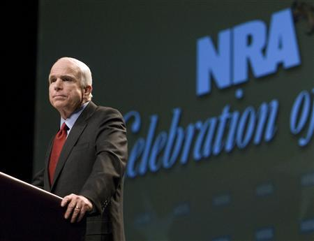 Republican presidential candidate Senator John McCain (R-AZ) speaks to members of the National Rifle Association (NRA) at their annual convention in Louisville, Kentucky, May 16, 2008. REUTERS/David R. Lutman