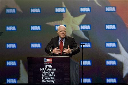 US Republican presidential candidate Senator John McCain (R-AZ) speaks to members of the National Rifle Association (NRA) at their annual convention in Louisville, Kentucky, May 16, 2008. REUTERS/David R. Lutman