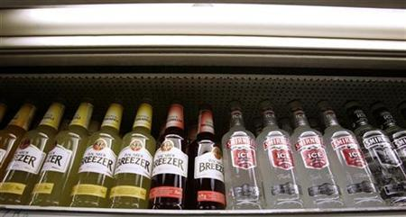 A selection of alcopops are displayed in an off licence in London March 7, 2008. REUTERS/Luke MacGregor