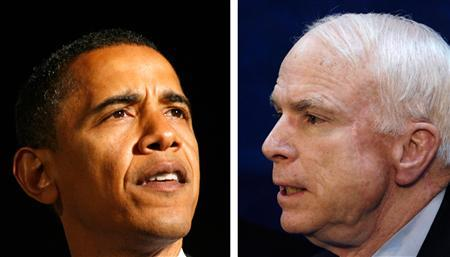 A combination photo of Democratic presidential candidate Senator Barack Obama (L) and Republican presidential candidate Senator John McCain. REUTERS/John Gress (L) and Amir Cohen