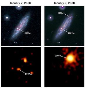 In this ultraviolet image (upper L), several weeks-old Supernova 2007uy is seen in galaxy NGC2770, taken on January 7, 2008, with a close-up, X-ray image of that supernova beneath. New Supernova 2008D (R) appears onto the scene in these images taken January 9, 2008, giving scientists the unique opportunity to witness the birth of a supernova. REUTERS/NASA Swift team/Handout.