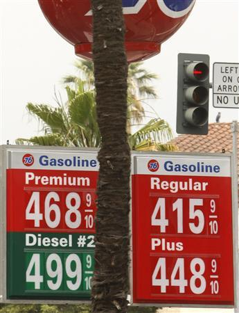 Gas prices are shown at a gas station in Beverly Hills, May 20, 2008. REUTERS/Lucy Nicholson