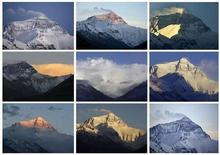 <p>Una combinazione di foto che ritraggono l'Everest in diverse ore del giorno. REUTERS/David Gray (CHINA)</p>