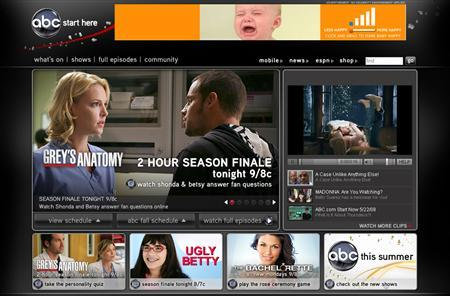 A screenshot of ABC.com, taken on May 22, 2008. REUTERS/ABC.com