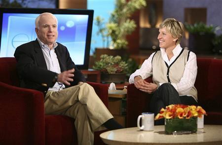 Republication presidential candidate Senator John McCain appears with host Ellen DeGeneres at the taping of ''The Ellen DeGeneres Show'' in Burbank, California, May 22, 2008. REUTERS/Michael Rozman/Warner Bros/Handout